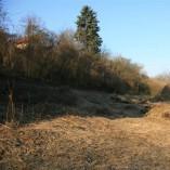 Plocha budoucí zahrady - Tady jsou do trávy zarostlé pražce, sem musí přijet bagr